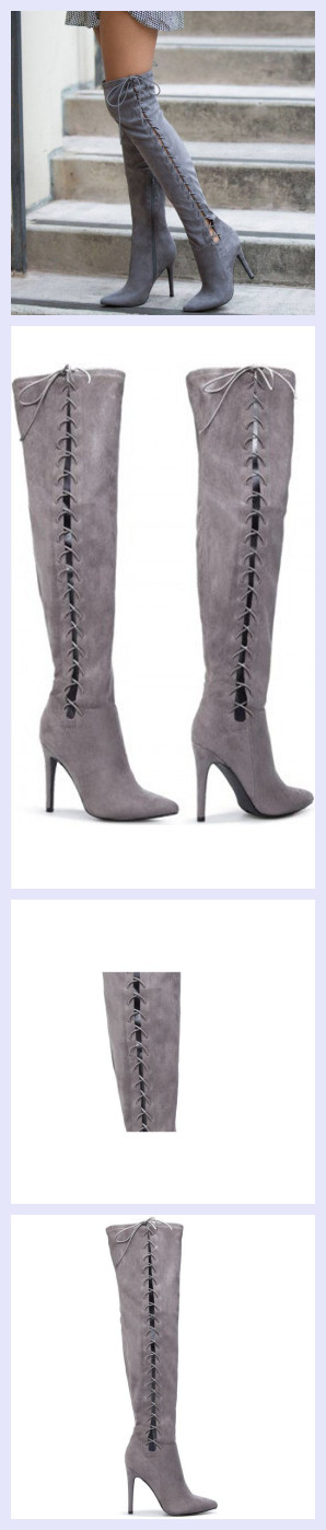 fa0b4ca1491 Grey Long Boots Suede Side Thigh High Lace Up Boots | FSJshoes_Fall ...