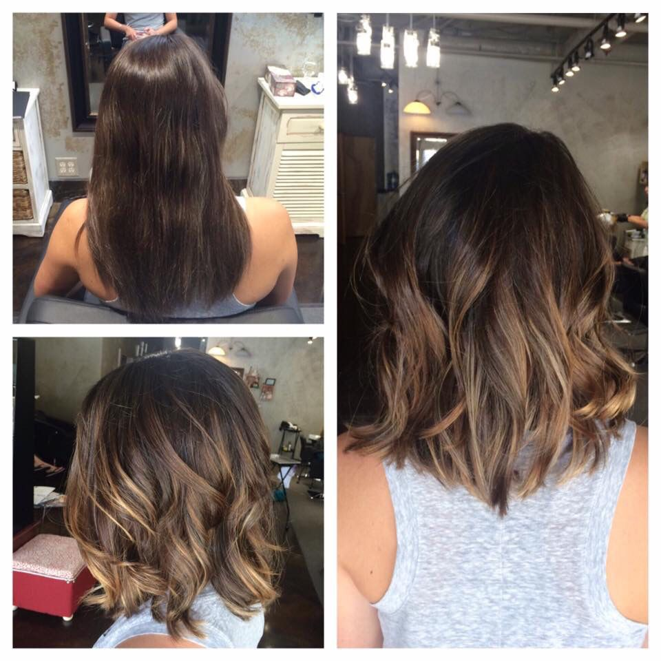 Long textured bob and balayage ombre highlights l hair for Balayage braun caramel