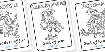 Aztec gods colouring sheets colouring pinterest best for Aztec gods coloring pages