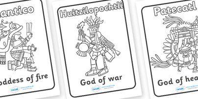 aztec gods coloring pages - aztec gods colouring sheets colouring pinterest best