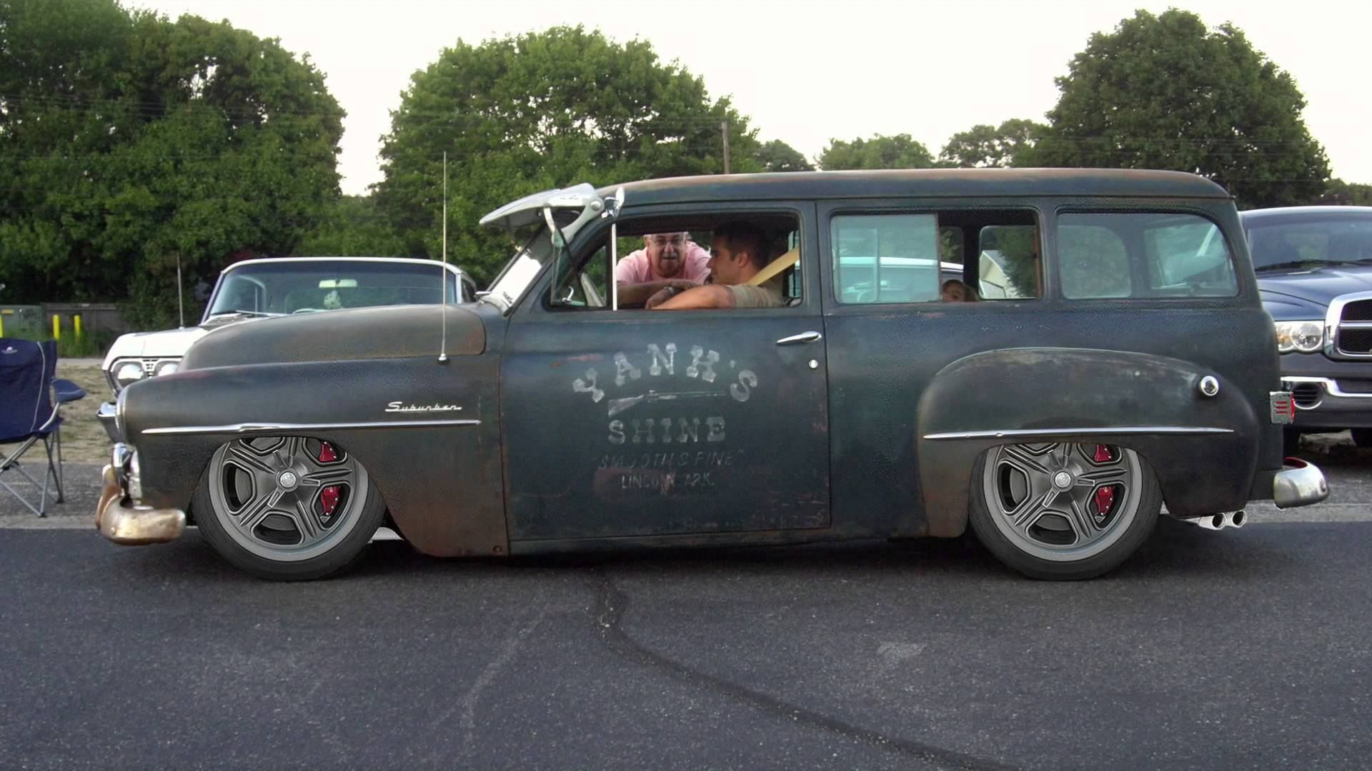 Super cool slammed rat rod wagon. Plymouth Suburban Rat