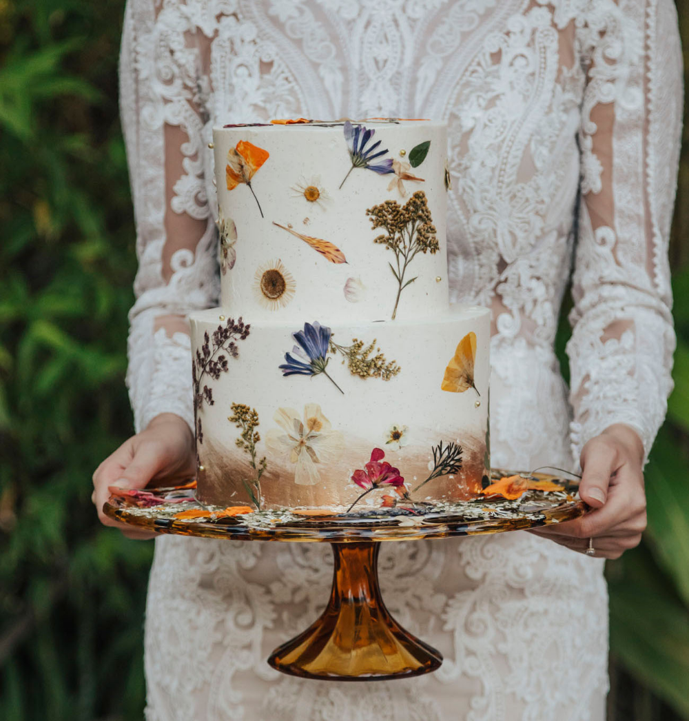 Hidden Tropical Paradise Wedding Inspiration with Painted + Pressed Floral Details | Green Wedding Shoes