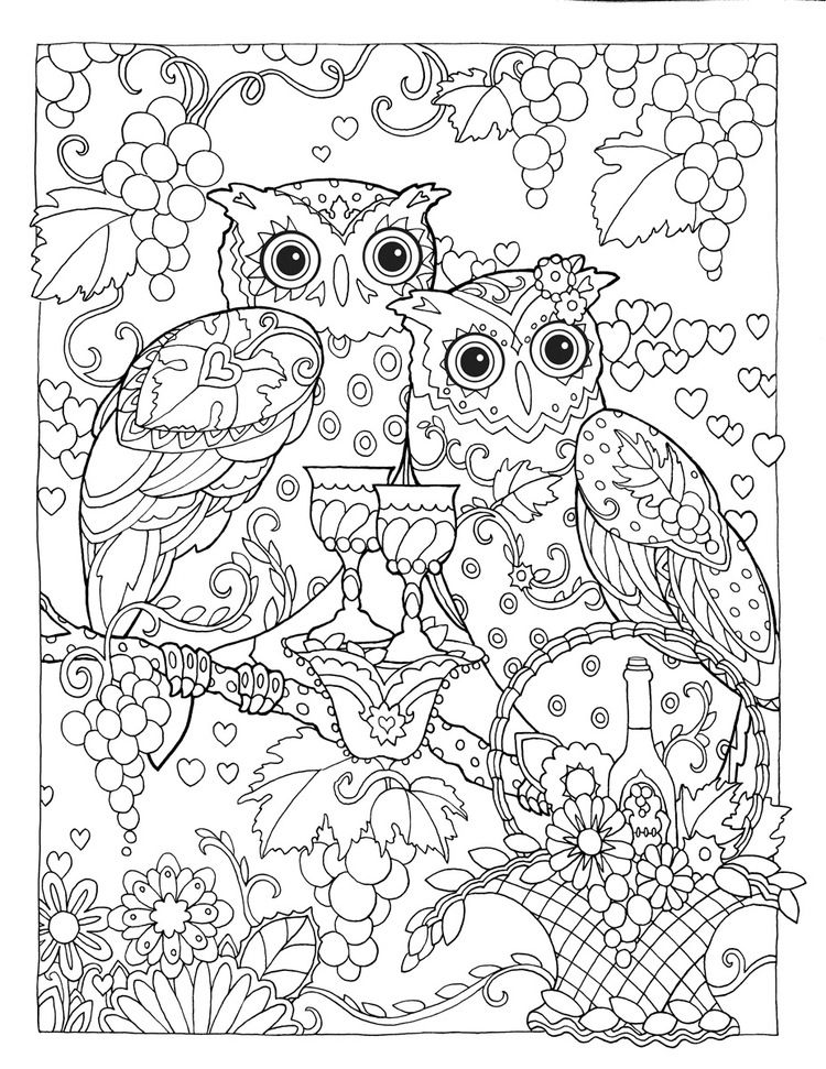 coloring pages wine food animals people | Creative Haven Owls Coloring Book by Marjorie Sarnat ...