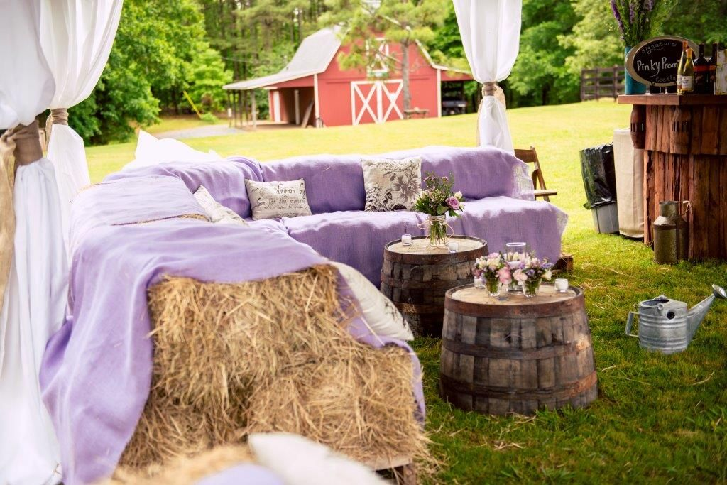 Such a great idea for outdoor seating during a wedding reception! O'Brien Productions. 770-422-7200