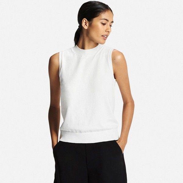 UNIQLO Women Uv Cut Sleeveless Sweater ($20) ❤ liked on Polyvore featuring tops, sweaters, white knit sweater, color block dress shirt, sleeveless tops, color block sweater and layered sweater