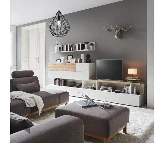 TV Element In Weiß Und Eiche   Harmonische Eleganz Für Ihr Wohnzimmer