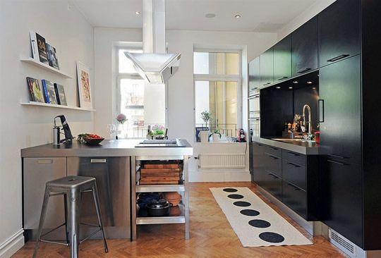 black modern kitchen with stainless island