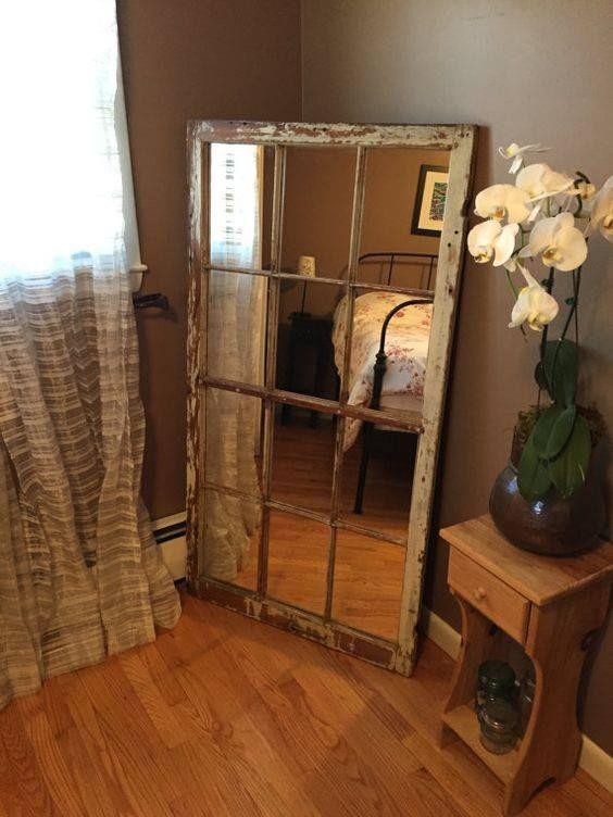 Old Window Into A Full Length Mirror Home Diy Window Pane Mirror House Interior