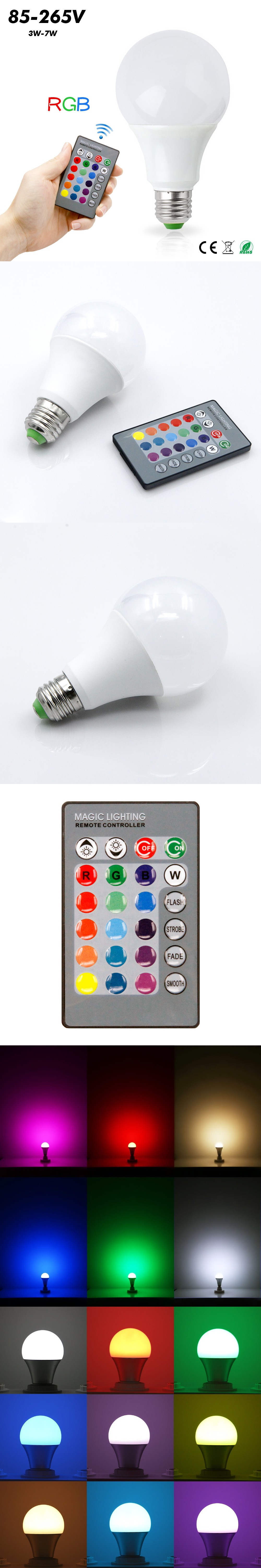 RGB LED Lamp E27 3W 5W 7W RGB LED Bulb SMD 5050 lampara led 85-265V Home Decoration 16 Colors Change IR Remote Controller $5.37