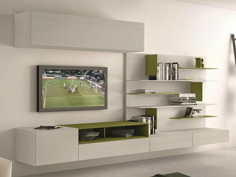 parete attrezzata componibile fissata a muro con porta tv i-modulart