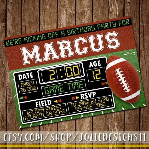 Hey, I found this really awesome Etsy listing at https://www.etsy.com/listing/269659263/football-birthday-invitation-scoreboard