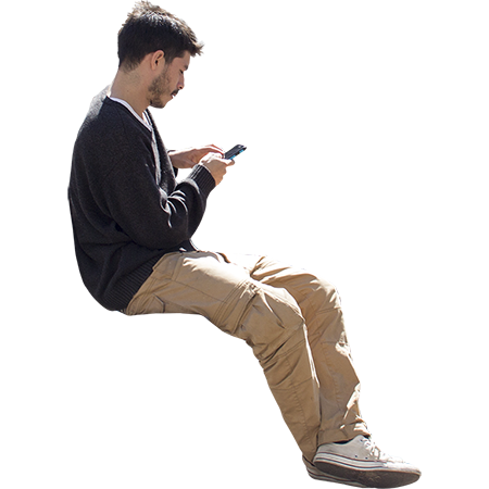 Young Man Sitting and Texting with Phone Render people