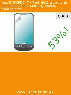 Ksix BXSCREEN7 - Pack de 2 protectores de pantalla para Samsung S5600, transparente (Electrónica). Baja 53%! Precio actual 3,06 €, el precio anterior fue de 6,57 €. http://www.adquisitio.es/ksix-k6/protectores-pantalla-0