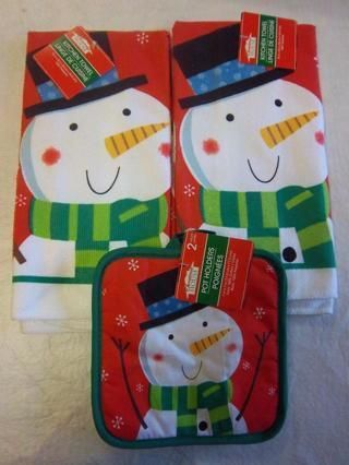 New Snowman Themed For Winter Or Christmas Dishtowel Potholder Sets 4 Pieces Total Free Shipping Christmas Snowman Pot Holders