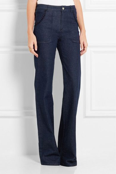See by Chloé - Embroidered high-rise flared jeans