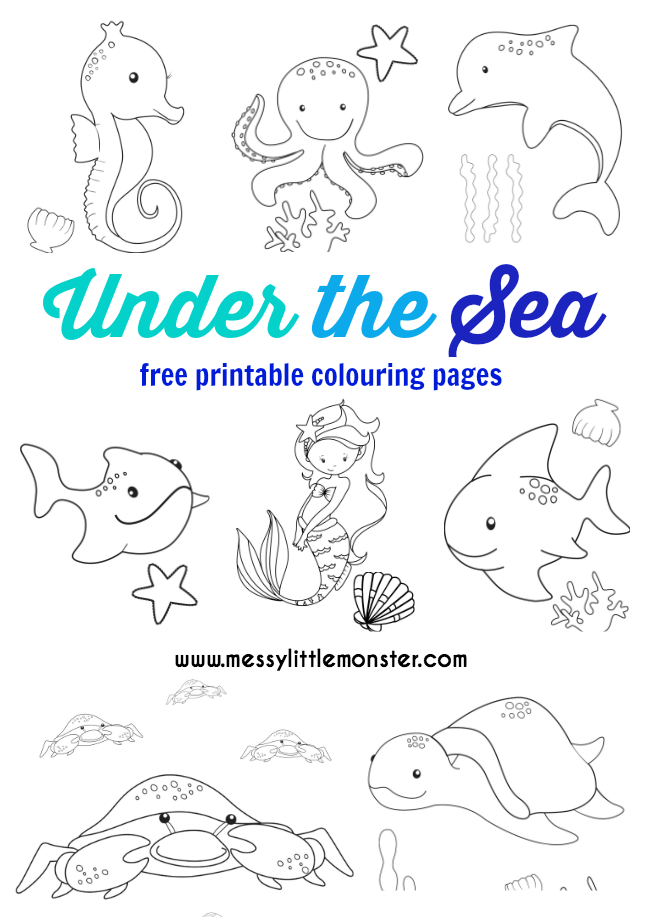 Under the Sea Colouring Pages Free