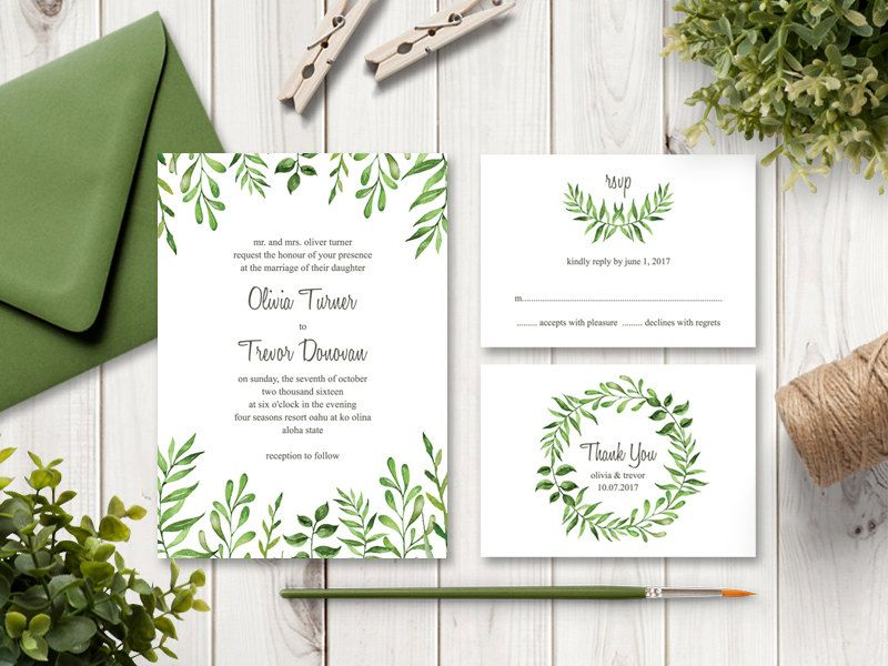 Watercolor Wedding Invitation Suite Lovely Leaves Green - Wedding invitation templates: wedding invitation suite templates