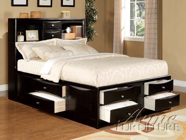 Einzelbett Mit Stauraum Und Kopfteil   Schlafzimmer