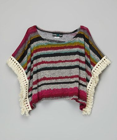 Love this Gray & Red Stripe Lace Poncho - Girls on #zulily! #zulilyfinds