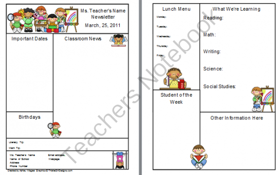 Teacher Newsletter Template Free From Firstgradebrain On
