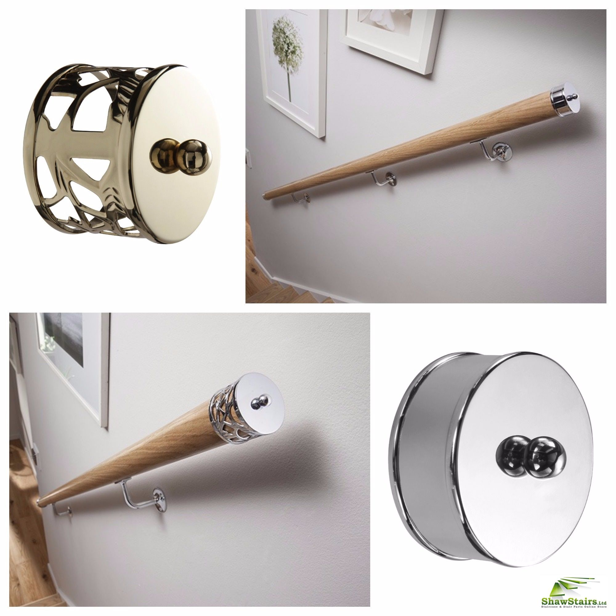 We Have A Range Of Wall Brackets And End Caps To Choose From | Wood Handrail End Caps | Brass Handrail | Side | Scroll | Attached Wall | Lamb