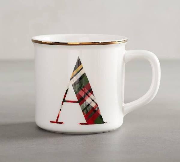Plaid Alphabet Mug: Alphabet Mugs, Mugs, Gifts