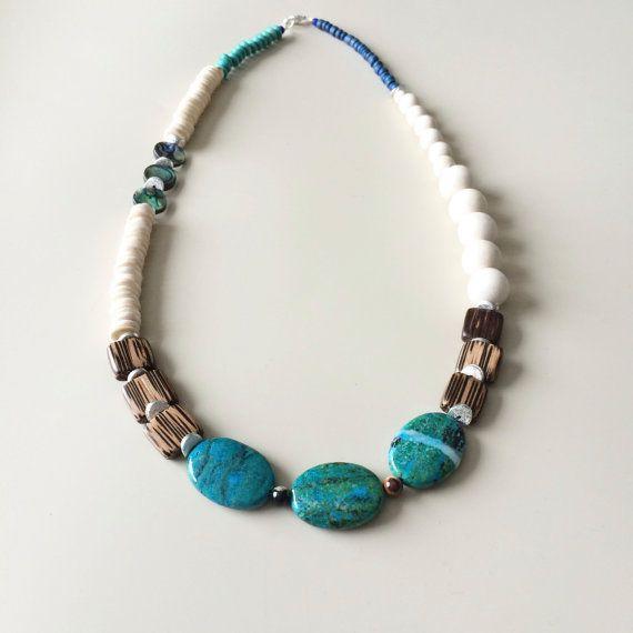 White Boho Necklace - Wood Necklace - Festival Necklace -  Native necklace - Statement Necklace - Beach Necklace - Statement Necklace
