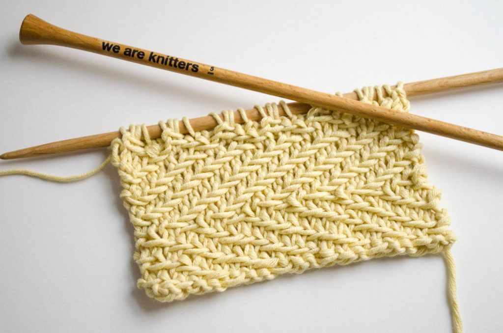 How to knit the Woven Transverse Herringbone stitch | einfache ...