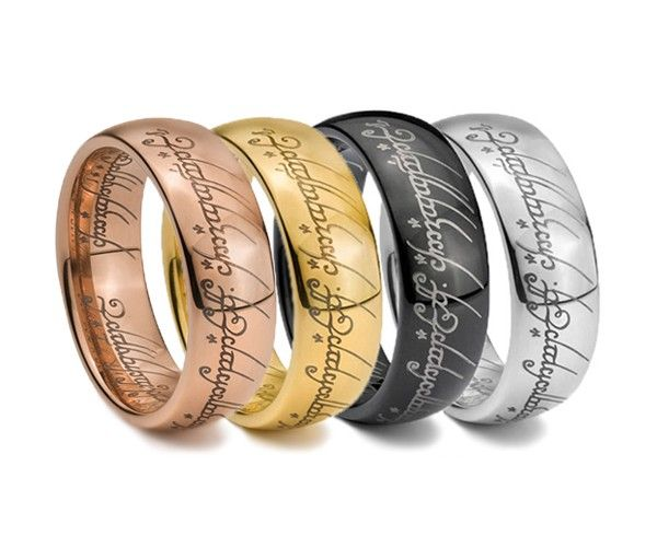 the lord of the rings tungsten carbide engraved yellow gold ring i - Lotr Wedding Ring