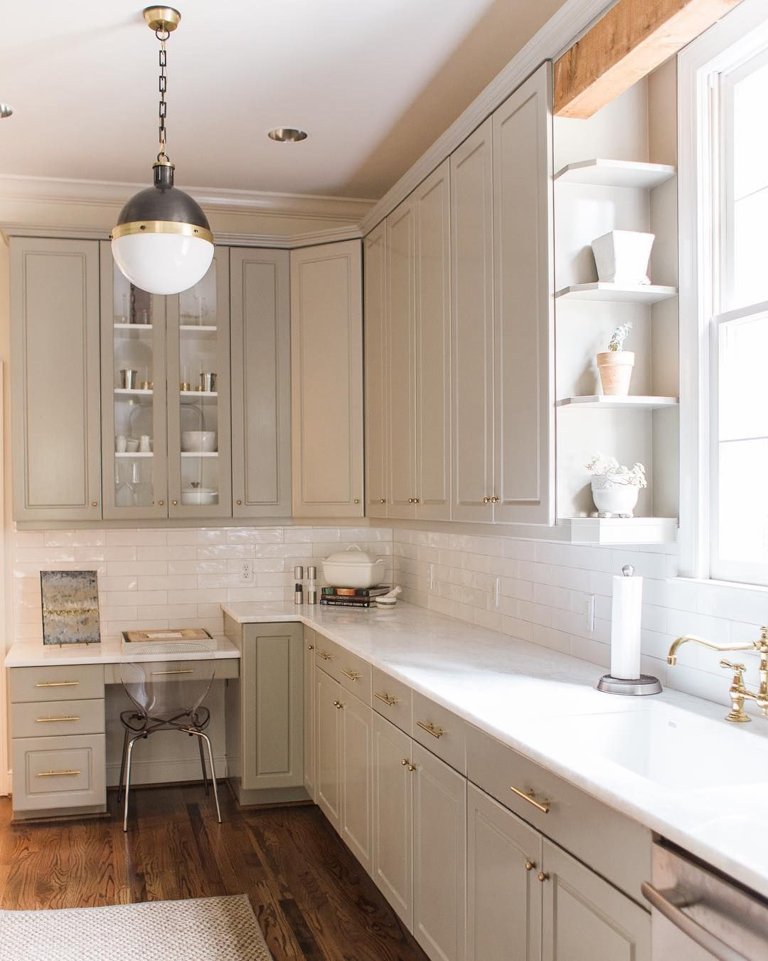 Mystery White Dolomite Countertops And Benjaminmoore S Sandy Hook Gray Cabinets Grey Cabinets Beautiful Kitchens Kitchen