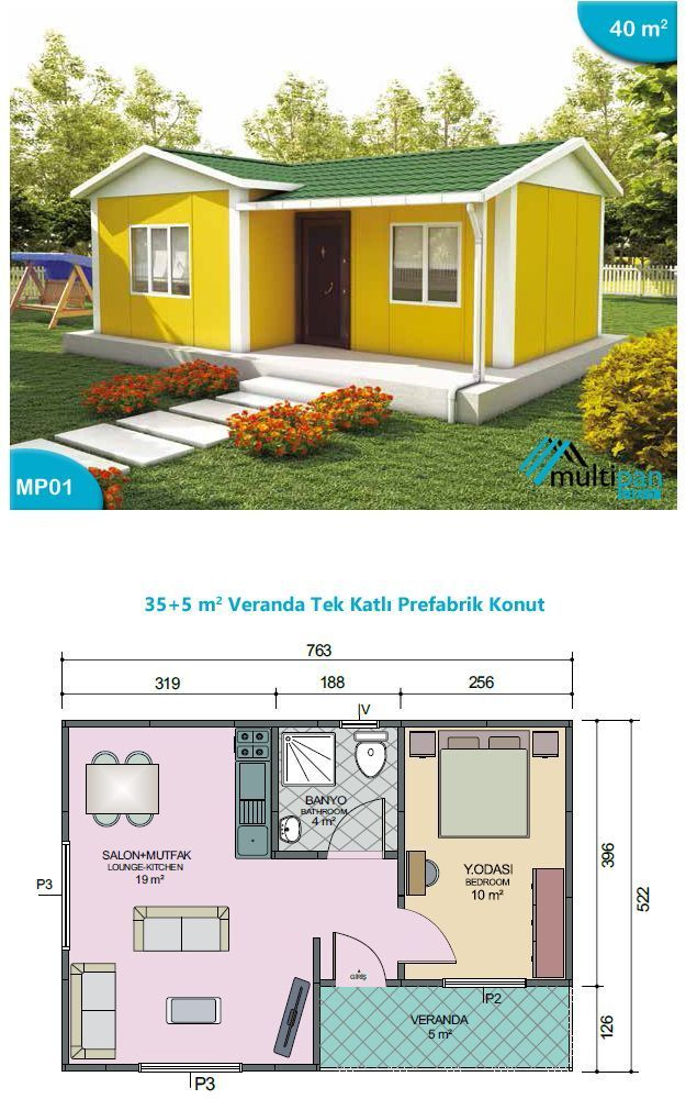 Model Mp1 35 Square Meters 5 Meters 1 Bedroom 10m2 1 Bathroom 4m2 Combined Lounge Kitchen 19m2 Ve Sims House Plans Tiny House Floor Plans Tiny House Cabin