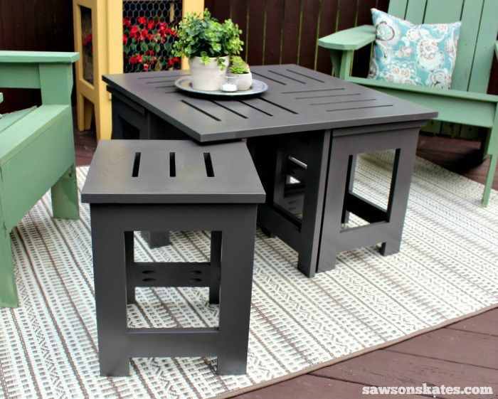 diy outdoor coffee table with 4 hidden side tables coffee table