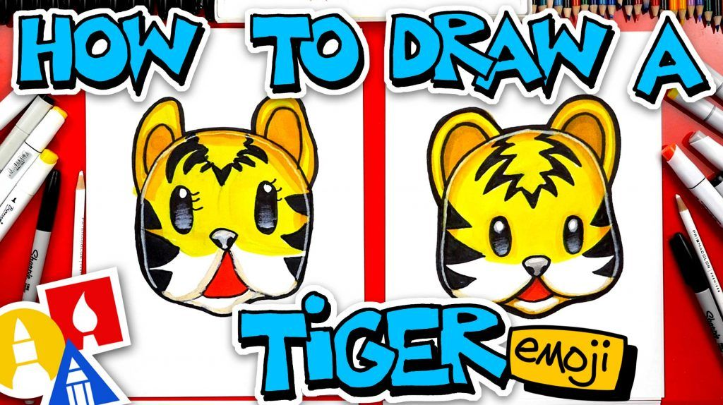 How To Draw A Tiger Face Emoji Art For Kids Hub Art For Kids Hub Easy Cartoon Drawings Art For Kids