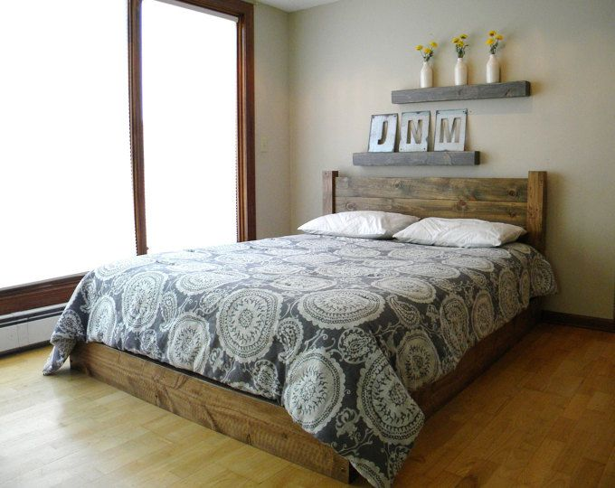 Reclaimed Rustic Pine Platform Bed With Headboard And 4 Drawers En