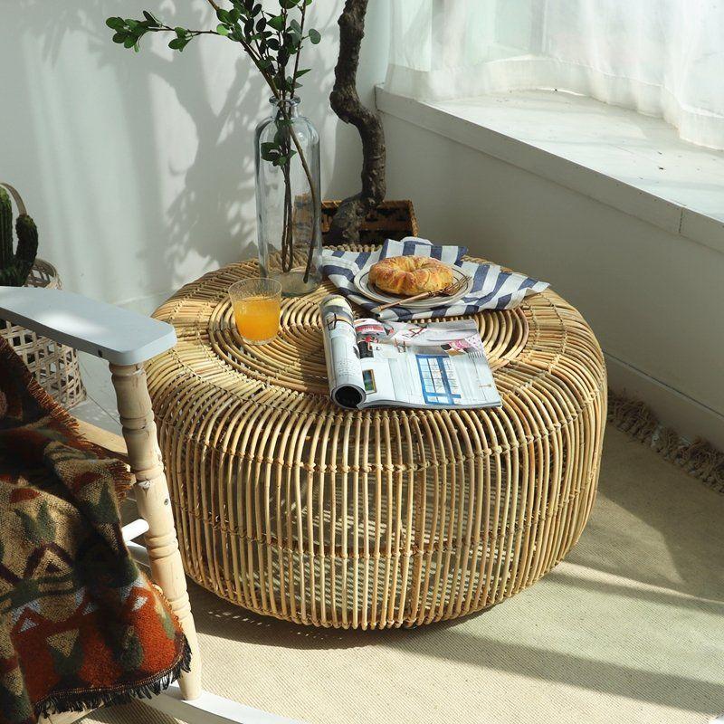 Modern minimalist style handwoven rattan round coffee