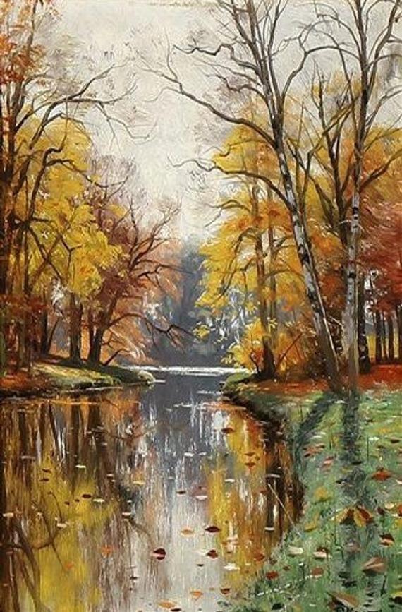 An Autumn Day by a Serpentine Stream-Cross stitch-