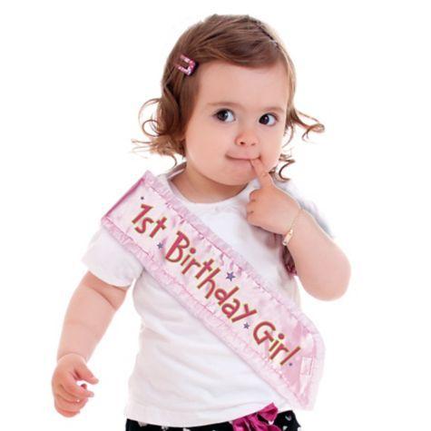 Pink 1st Birthday Sash 3 4in X 14 1 2in