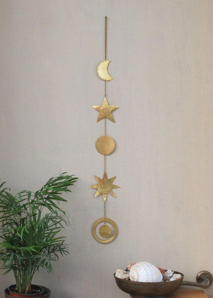 Celestial Brass Wall Hanging Mobile - Sun - Moon - Star - Wall ...