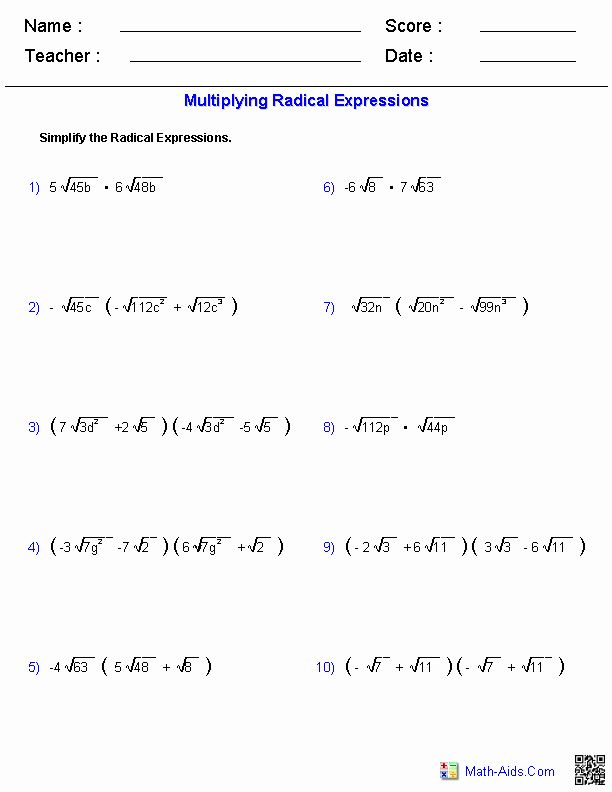 Simplifying Radicals Practice Worksheet Best Of Multiplying Radical Expressions Worksh In 2020 Radical Expressions Simplifying Algebraic Expressions Algebra Worksheets