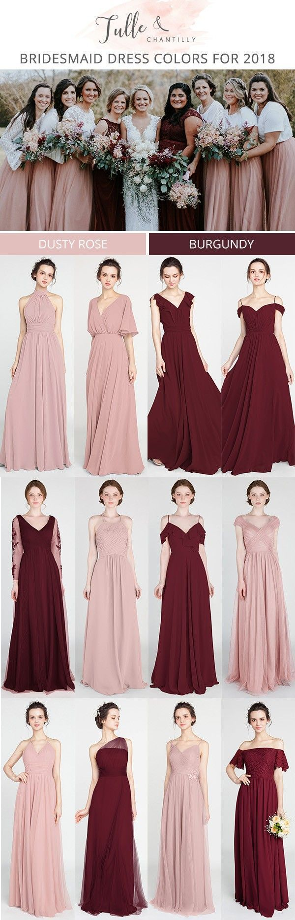 Dusty rose and burgundy bridesmaid dresses for trends