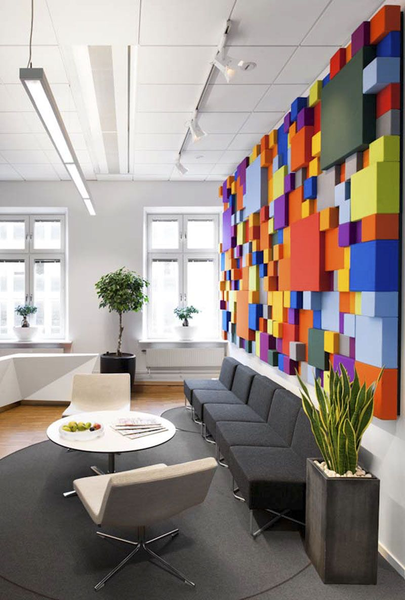 Download Pop Art Interior Design Office Waiting Room Simple Long Taupe Sofa  Taupe Carpet Table Two Amazing Ideas
