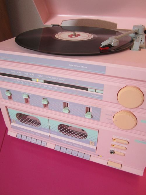 80s Sears Pastel Pink Lavender Stereo ❤ Turntable Tuner Cassette ...