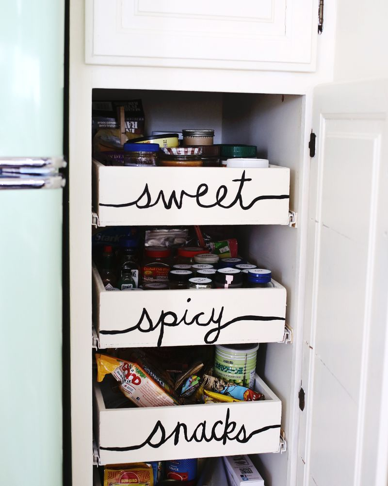 Labeled kitchen drawersu sweet spicy snacks storage