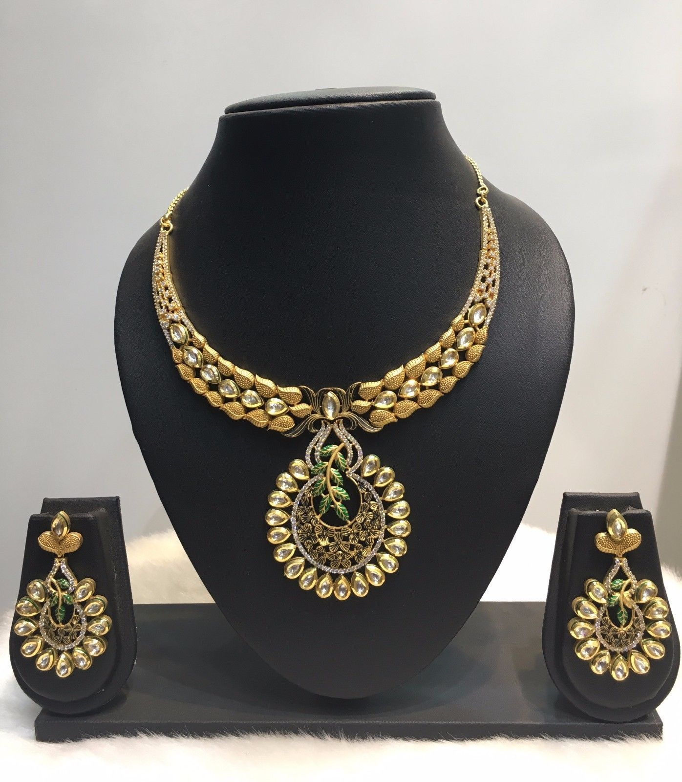 ethnic plated indian itm set jewelry traditional jewellery wedding fashion gold women jhumka earrings