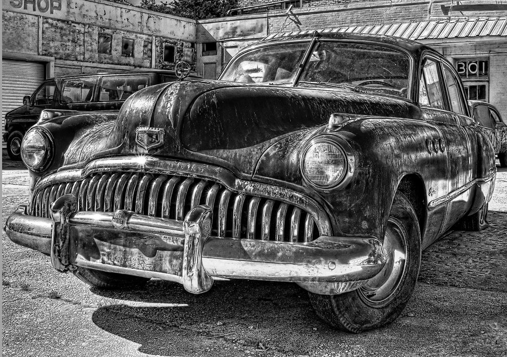 Blue Buick in Black and White   Flickr - Photo Sharing!