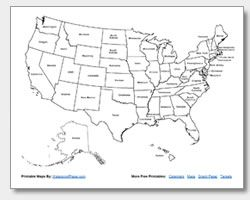 Printable United States maps for FREE. Great for kids