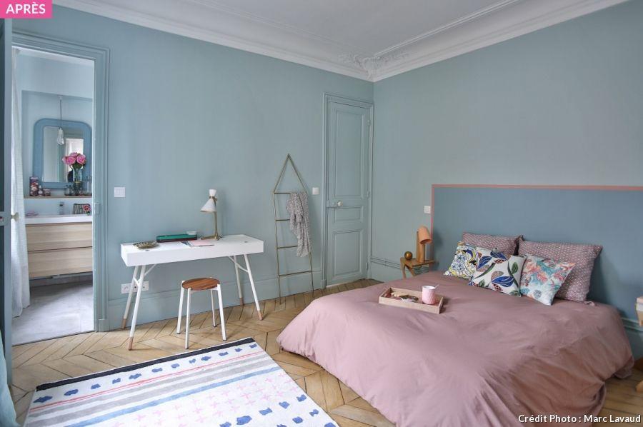 Avant-après  une chambre Rose Quartz et Serenity Rose quartz - exemple de couleur de chambre
