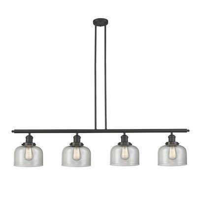 """Innovations Lighting Glass Bell 4 Light Kitchen Island Pendant Shade Color: Matte White Cased, Size: 48"""" W x 5"""" D, Finish: Black/Brushed Brass"""