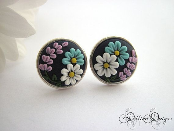 7fe424114 Summer Dream - Handmade Floral Stud Earrings - Polymer Clay and Sterling  Silver Earrings - Unique Jewelry - Embroidery Earrings