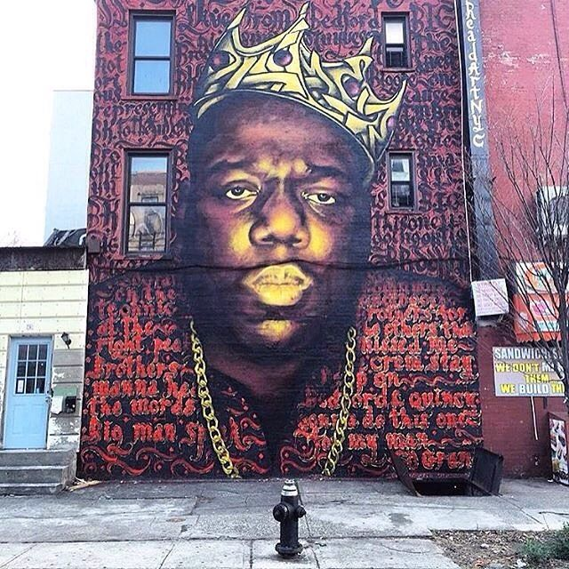 Image crazy biggie piece by zimer nyc rocko nyc shot for Biggie smalls mural brooklyn